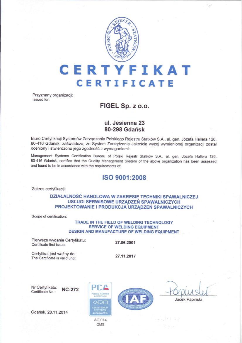 Certyfikat ISO 2008