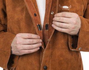 weldas Lava Brown skórzana kurtka spawalnicza z dwoiny bydlęcej -3