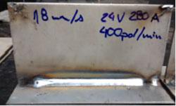Zdj. 6. Spoina pachwinowa, spawanie zrobotyzowane z 1,2 mm Outershield 710-H. Tryb Spawania Rapid Arc, 24V, 280 A, TS-2,7 mmin, gaz osłonowy ArCO2 9010.